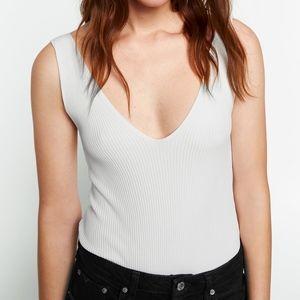 Zara V-Neck Ribbed Knit Bodysuit